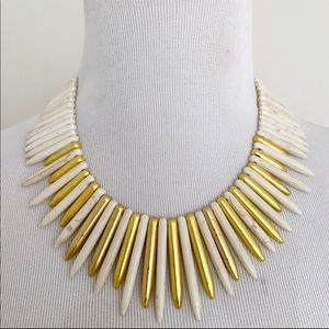 Kenneth Jay Lane Gold & White Spike Necklace